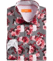 tallia men's slim-fit no-iron performance stretch red rose houndstooth dress shirt