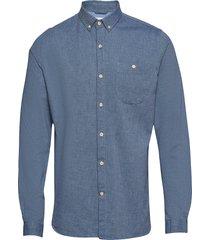 melange effect flannel shirt - gots overhemd casual blauw knowledge cotton apparel