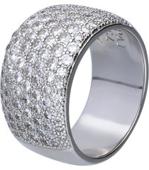 anello in argento a fascia con pavé di zirconi per donna