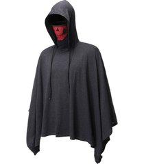 halloween skull mask pullover hooded cloak