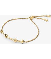 mk bracciale base con cursore in argento sterling con placcatura in metallo prezioso - oro (oro) - michael kors