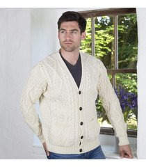 pure wool traditional v neck cardigan cream large