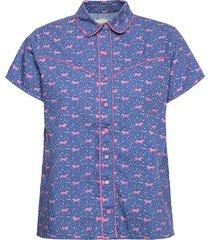 arcade top kortärmad skjorta blå lollys laundry