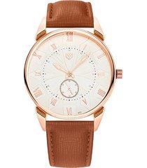 reloj hombres de cuarzo impermeable correa luminosa-marrón