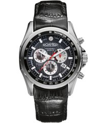roamer men's chronograph 44 mm dress watch in stainless steel case on strap