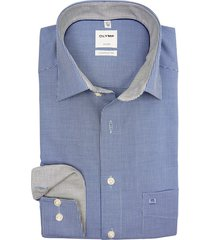 olymp luxor modern fit overhemd strijkvrij ruitje marine