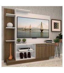 estante com painel p/tv até 55 polegadas e 2 portas porto multimóveis branco/madeirado