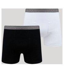 kit de 2 cuecas masculinas em algodão egípcio boxer multicor