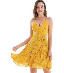 vestido floral vuelos amarillo nicopoly