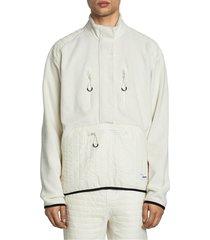 kenzo men's tech polar half-zip sweater - ecru - size l
