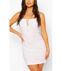 petite mini jurk met knopen, wit