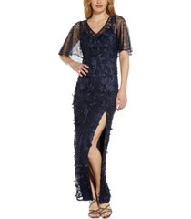 adrianna papell 3d floral-appliqued gown