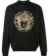 versace crystal embroidered medusa sweater - black