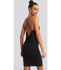 na-kd party cross back cowl neck dress - black