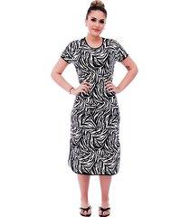 camisola ficalinda midi manga curta 3 em 1 com estampa animal print de zebra e viés preto.