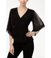 msk embellished chiffon sleeve top