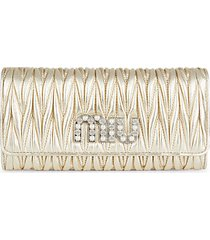 metallic matelassé leather wallet clutch