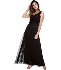 vestido largo negro medio hombro elena urrutia