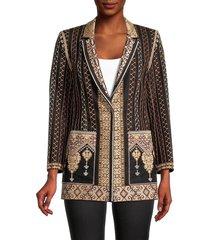 kobi halperin alynn embroidered linen-blend jacket - brown multi - size xs