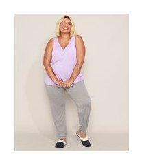 pijama feminino plus size regata + calça lilás