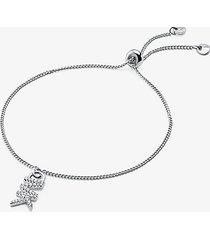 mk braccialetto base con cursore in argento sterling con placcatura in metallo prezioso e logo - argento (argento) - michael kors