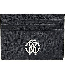 logo crest saffiano leather card holder