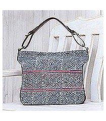leather-accented cotton batik shoulder bag, 'hmong zigzag' (thailand)