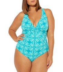 plus size women's bleu by rod beattie makes waves one-piece swimsuit