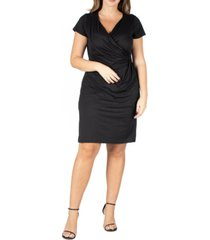 24seven comfort apparel women's plus size short sleeve v-neck faux wrap dress