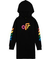 off-white black cotton dress with off front print