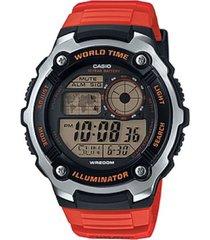 reloj ae-2100w-4a casio rojo