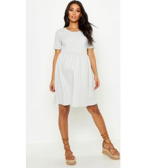 maternity stripe smock dress, light grey