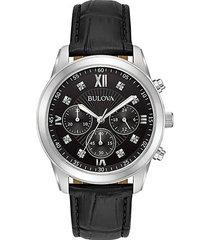 dress standard diamond stainless steel & leather-strap chronograph watch