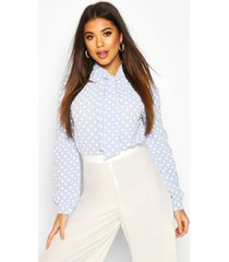 pussy bow polka dot high neck blouse