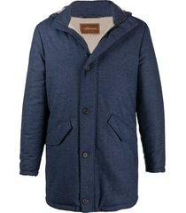 doriani cashmere hooded duffle coat - blue