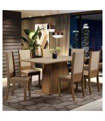 conjunto sala de jantar madesa adriana mesa tampo de madeira com 6 cadeiras cor:rustic/crema/sintético bege