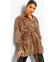 luipaardprint tuniek shirt met rug split en strik, leopard