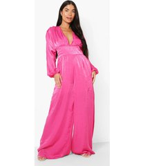petite geweven wide leg jumpsuit, pink