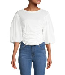 free people women's balloon-sleeve cotton top - ivory - size l
