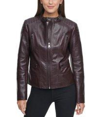 kenneth cole faux-leather moto coat