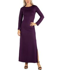 24seven comfort apparel women's form fitting long sleeve side slit maxi dress
