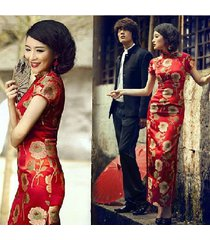 new womens long evening qipao wedding cheongsam dress red chinese dress