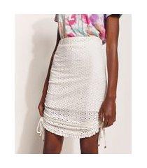saia de laise feminina hype beachwear curta com amarração off white
