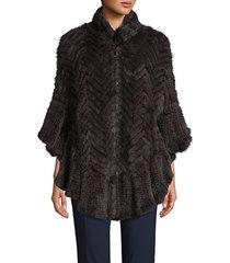 mink fur & cotton-blend poncho