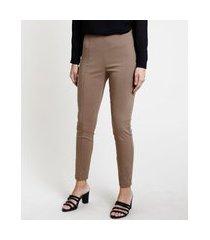 calça legging feminina social cintura alta bege