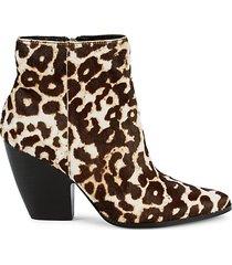 niche snow leopard-print calf hair booties