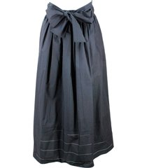 fabiana filippi long cotton skirt with belt at the waist and laser processing