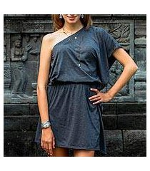 one-shoulder cotton dress, 'graphite grey starlet' (indonesia)