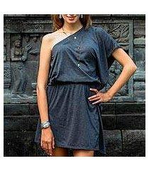 one-shoulder cotton dress, 'graphite grey starlet' (indonesia)