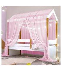 cama montessoriana exclusiv fio de luz e voal rosa casah